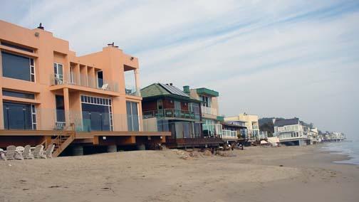 The beach side of homes along Escondido Beach Road, facing east.
